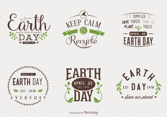 Earth Day Typographic Vector Designs