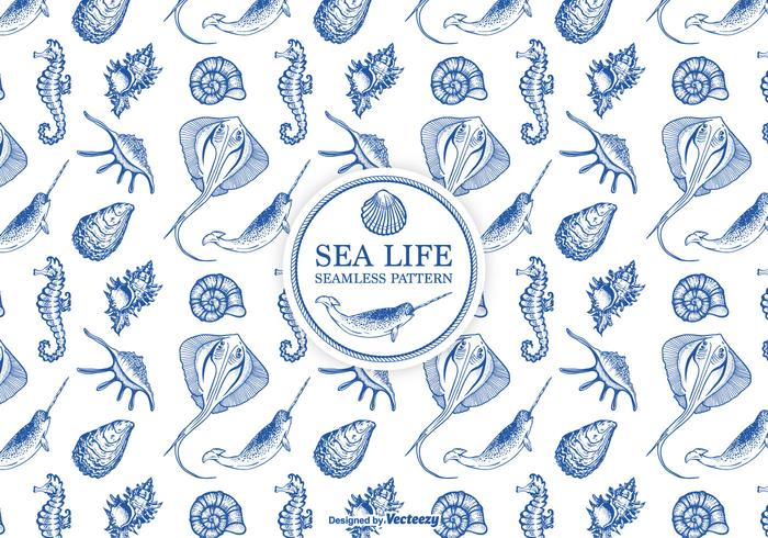 Hand Drawn Etched Sea Life Seamless Pattern