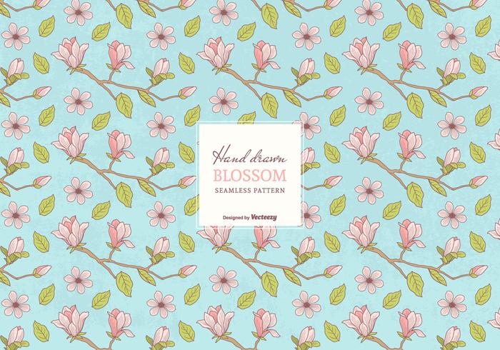 Colored Hand Drawn Blossom Branches Seamless Pattern