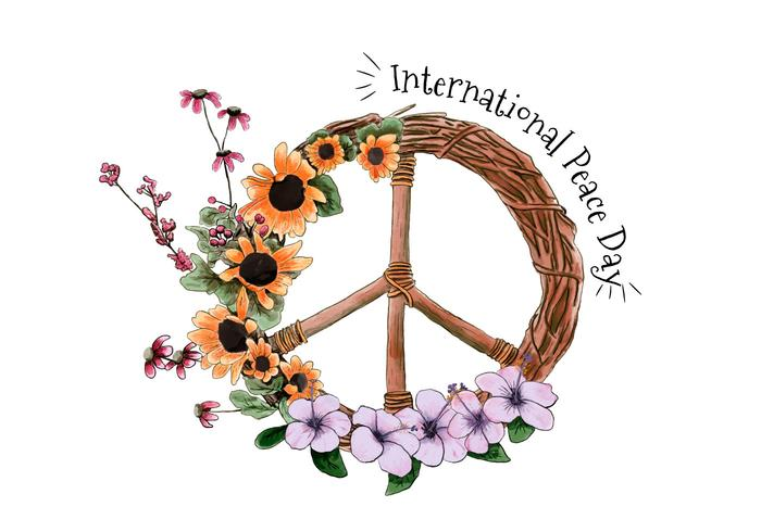 Watercolor International Peace Day Vector