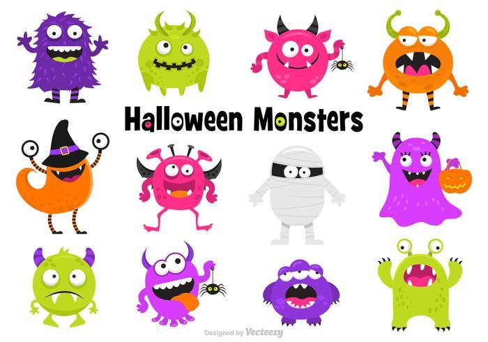 Jeune amusant Halloween Monsters Vector Set