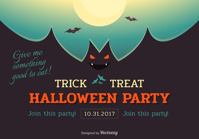 Halloween Bat Party Vector Poster
