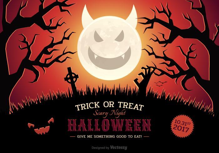 Halloween Vector Scary Night Poster Met Evil Moon