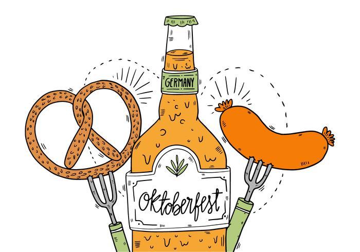 Oktoberfest Pretzel Beer And Sausage Vector