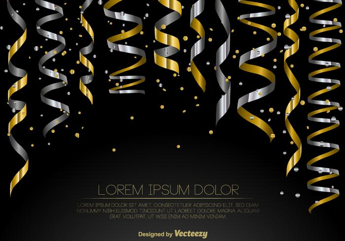Vector Set Of Gold And Silver Streamers