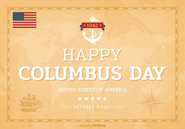 Happy Columbus Day Lettering On Old World Map