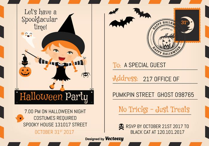 Cute Halloween Party 2017 Invitation Postcard Vector Template
