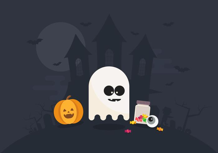Halloween Illustration with Ghost and Pumpkin