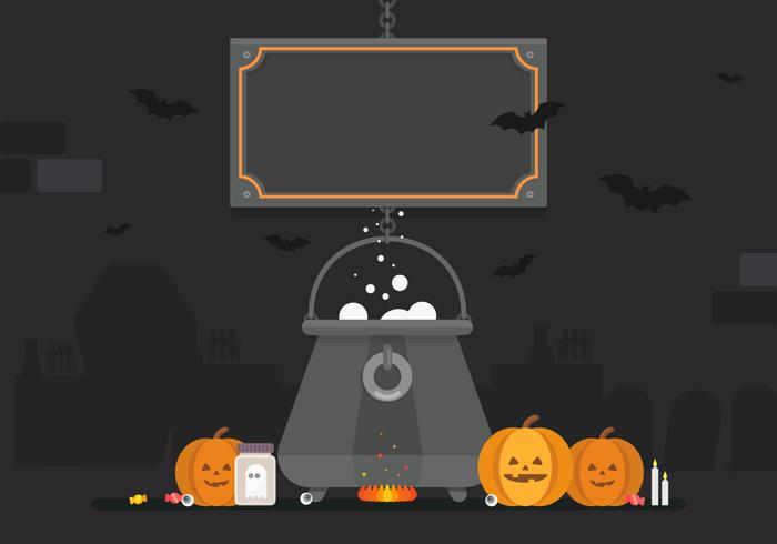 Halloween Black Cauldron with Pumpkins Illustration