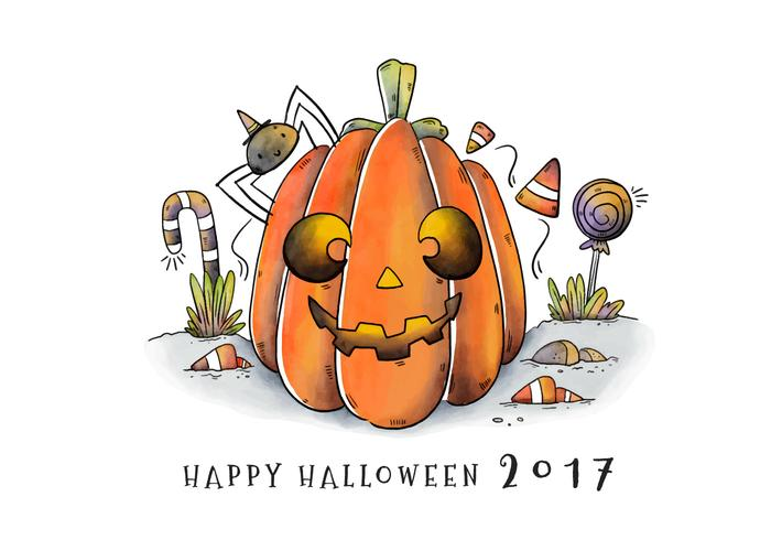 Cute Halloween Pumpkin Character Smiling Vector