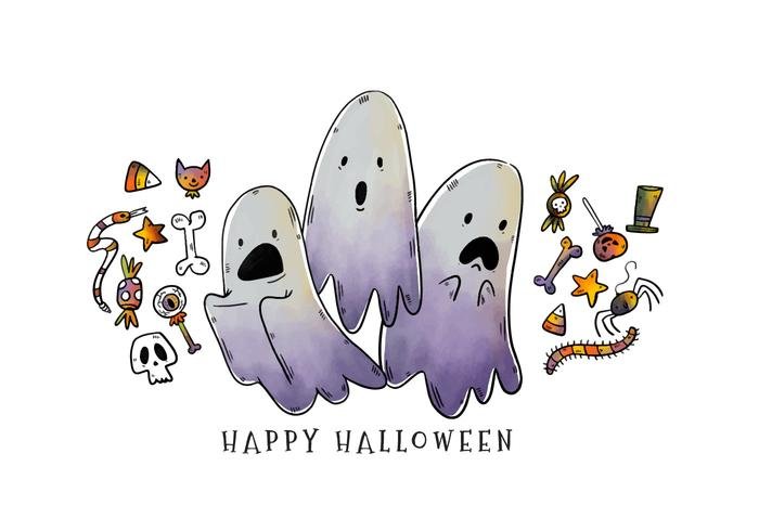 Cute Scary Cartoon Halloween Ghosts Characters Vector