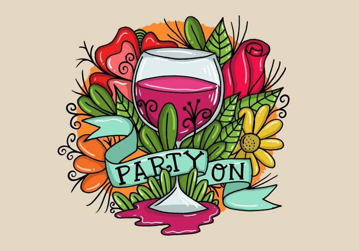 Party On Wine Glass Banner Vector