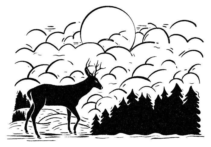 Vector de invierno bosque ciervos