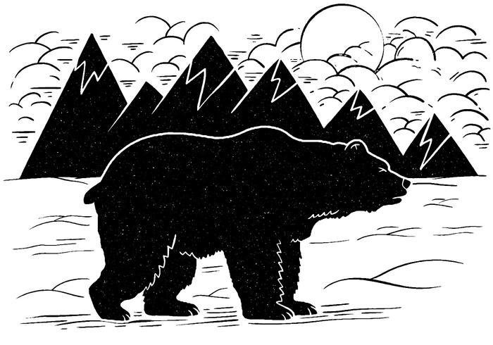 Vector de oso de invierno de montaña