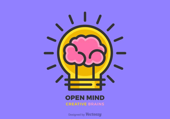 Creative Brain Idea and Light Bulb Vector Flat Line Design