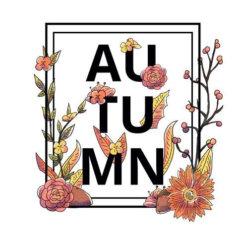 Herfst bloemen en bladeren Vector