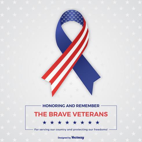 Veterans Day Stripes And Stars Ribbon