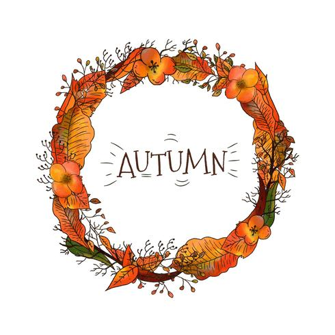 Autumn Wreath With Leaves And Flowers
