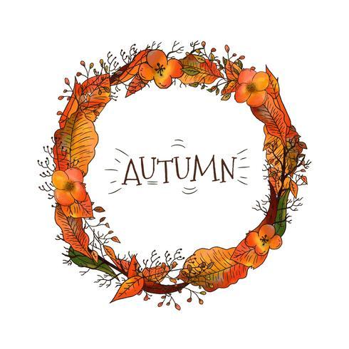 Grinalda do outono com folhas e flores