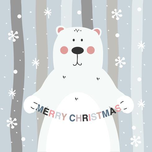 Christmas Bear Vector Background