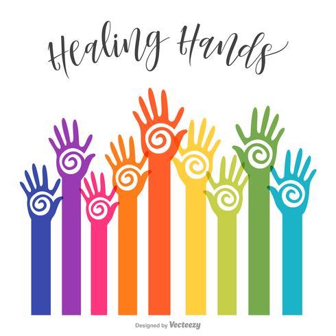 Colorful Reaching Healing Hopi Hands Vector Design