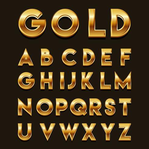 Golden 3D Fonts Vector