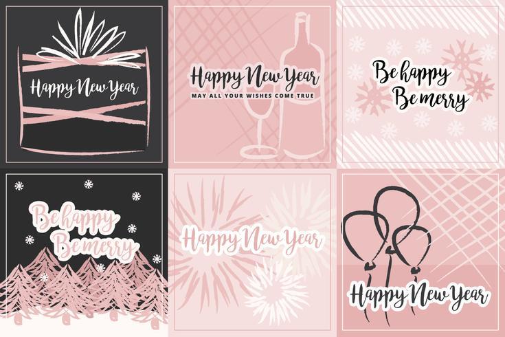 Millennial Pink Vector Winter Cards