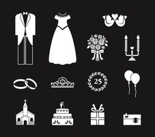 Black and White Wedding Vector Elements