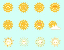 Cute Smiley Suns Vector Pack