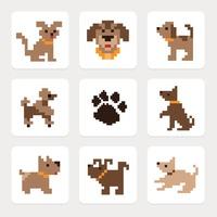 Pixel Dog Icons Vector Set