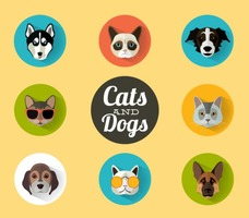 Cats and Dogs Portraits Vector