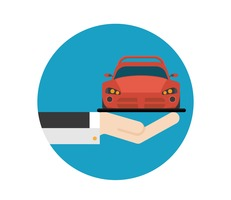 Free Flat Hand And Car Vector Icon