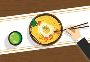 Vector Ramyeon Korean Food