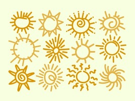 Set Of 12 Hand Drawn Suns Vector Elements