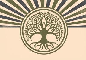 Retro Style Celtic Tree Illustration