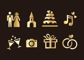 Wedding Element Golden Icons Vector