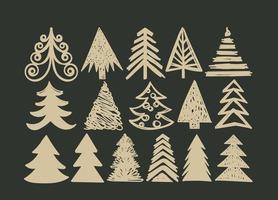 Hand Drawn Christmas Tree Vector Set
