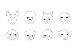 Free Hand Drawing Dog Head Vector