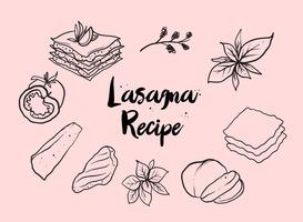 Free Hand Drawn Lasagna Vector
