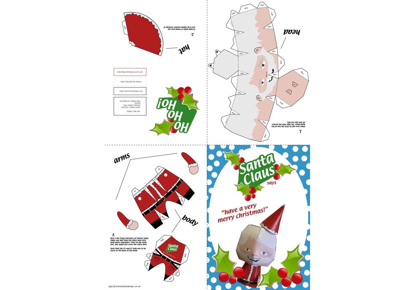 Santa Claus Paper Craft - Download Free Vector Art, Stock ...
