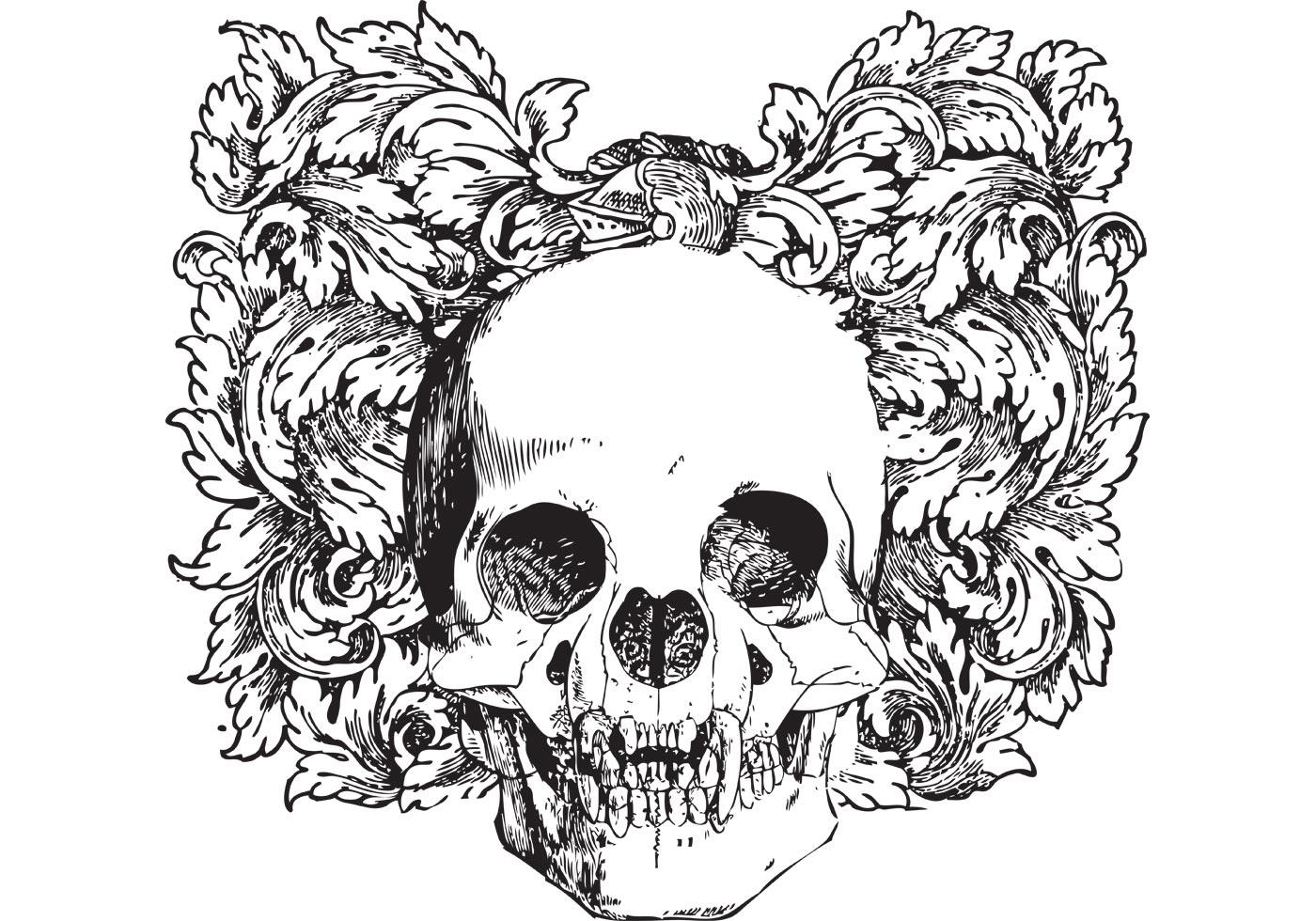 Floral skull vector illustration