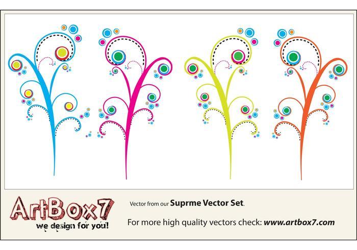 Vecteurs de tourbillons colorés