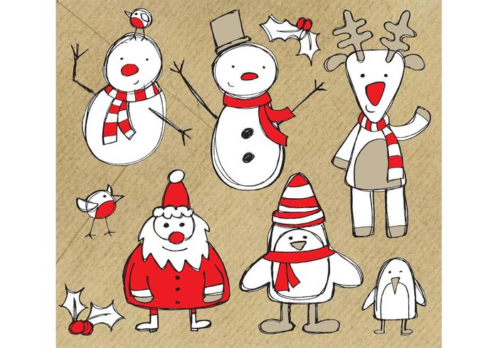 Gratis Christmas Themed Sketchy Vector Graphics Pack