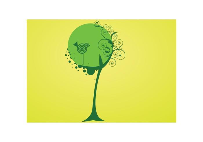 Vector tree and bird