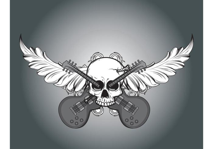 Vector skull, foliage and guitars