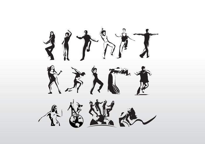 Aerobic Art Dancer Vector Siluetas