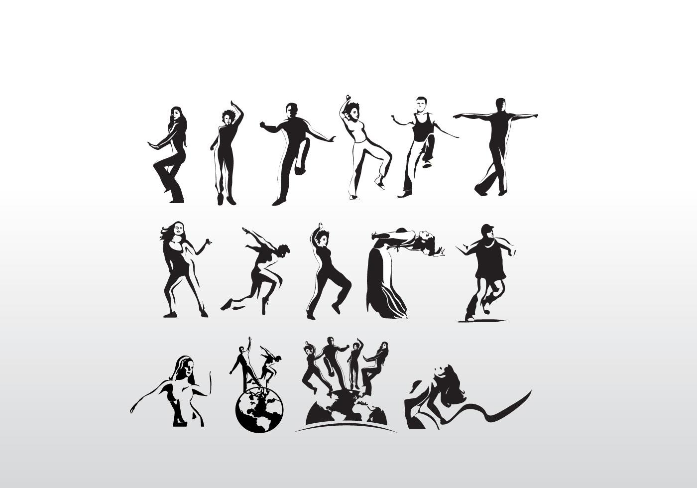 Aerobic Art Dancer Vector Silhouettes