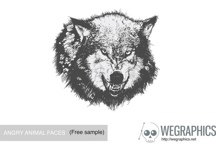 Enojado Animal Face Vector