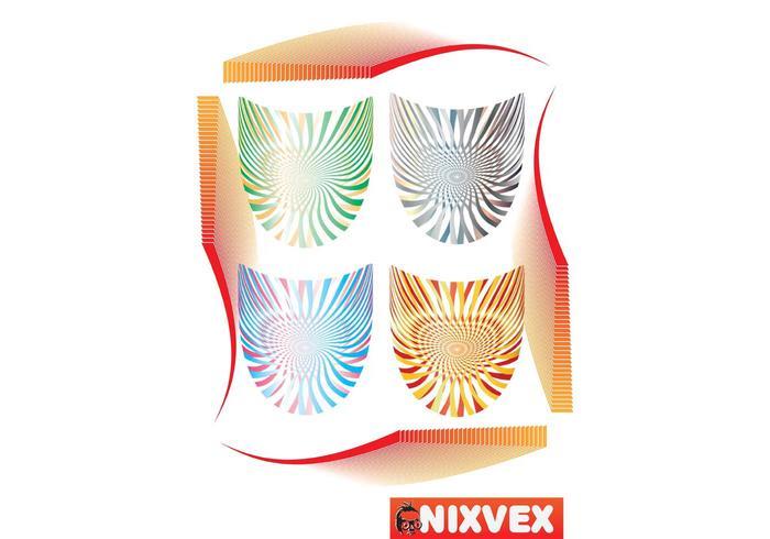 NixVex Op Art Shields Free vectors