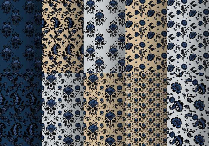 Paquete azul del patrón barroco vector